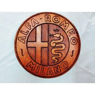 画像1: アルファロメオ 木製壁掛け 28センチ