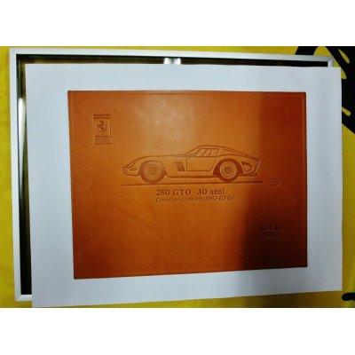 画像1: フェラーリ クラブ イタリア スケドーニ製 レザーレリーフ アルミ額付 詳しくはWhat Newをご覧ください